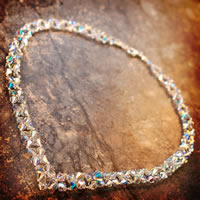 Beadweaving Crystal V Necklace