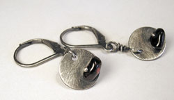 disc earrings oxidized with brushed patina