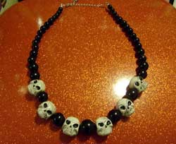 polymer clay bead - skull necklace