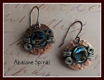 Copper with abalone earrings.