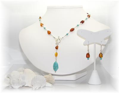 Turquoise and Amber Lariat Necklace Set