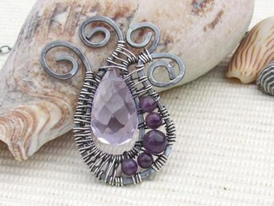 Amethyst & Sterling Silver Wire Wrapped Pendant