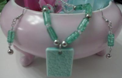 Fresh Mint Necklace & Earring Set