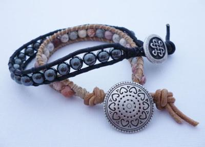 Beaded Leather Wrap Bracelets by Michelle Buettner of MiShel Designs