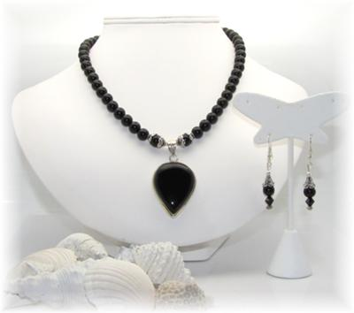 Classic Black Onyx Necklace & Earring Set