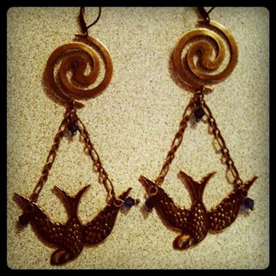 Brass Bird Spiral Earrings