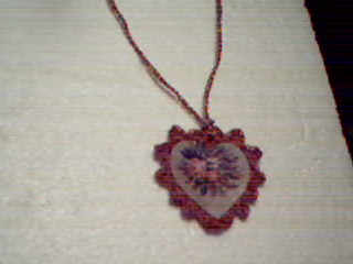 Crocheted  Heart With Roses Necklace