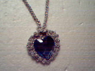 Blue Heart Necklace with Silver Crocheted Backing