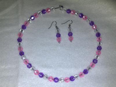 Purple and Pink Crystal Jewelry Set