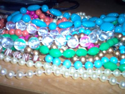 Strung fused beads.