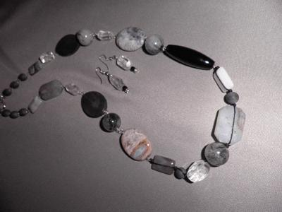 Lava Rock, Black Onyx, Tourmalinated Quartz and Crystal Quartz Necklace and Earring Set