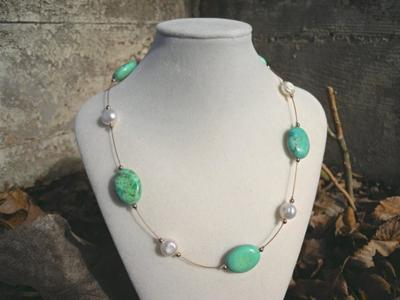 Floating turquoise and freshwater pearl necklace
