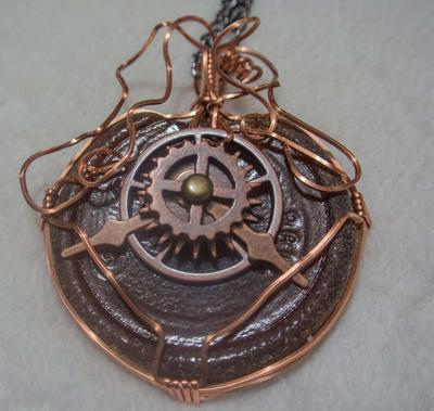 Steampunk Clockwork Seaglass Pendant
