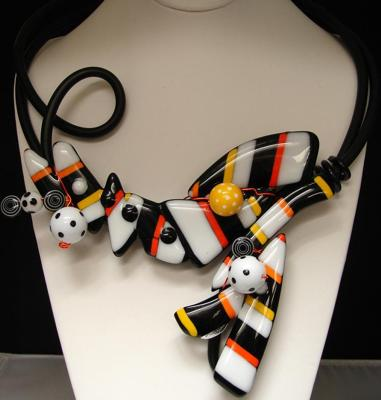 Irregular Fused Glass and Rubber Cord Necklace