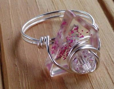 Another pink epoxy ring, made with glitter and a nice wire wrapped touch.