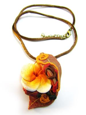Exotic Plumeria and Leaves Pendant
