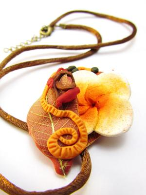 Exotic Plumeria and Leaves Pendant -Close Up