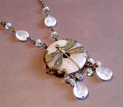 Filigree Wrapped Dragonfly Pendant With Crystals
